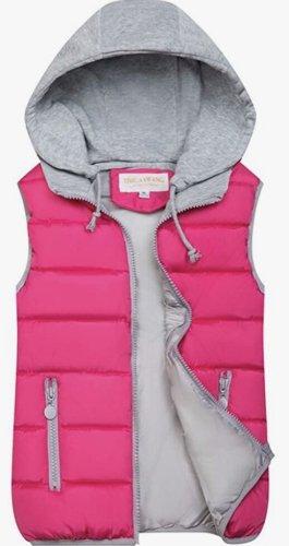 Chaleco de plumón rosa-rosa neón