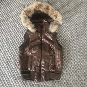 Gilet à capuche multicolore fourrure artificielle