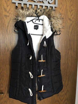 Forever 21 Quilted Gilet black-white