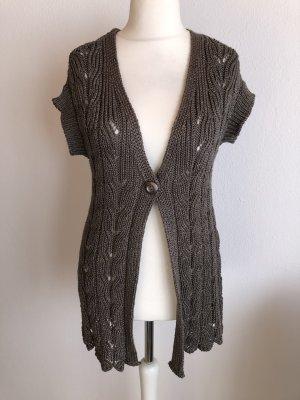 Lisa Tossa Lang gebreid vest khaki-grijs-bruin