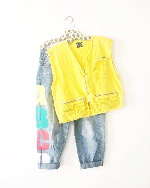 weste • vintage • gelb • 90s • 80s • bohostyle • cargo