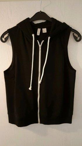H&M Chaleco con capucha blanco-negro