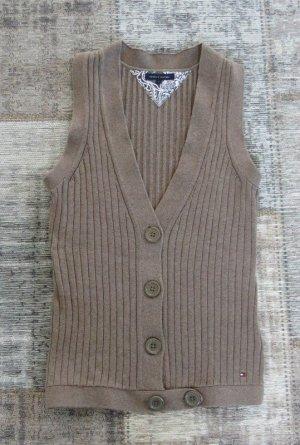 Tommy Hilfiger Cardigan a maniche corte marrone-grigio Cotone