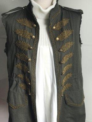 Zara Woman Chaleco de tela vaquera caqui-color oro