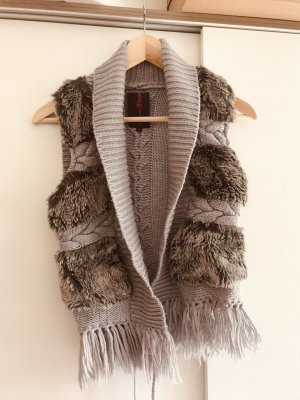 Tom Tailor Denim Gilet en fausse fourrure gris