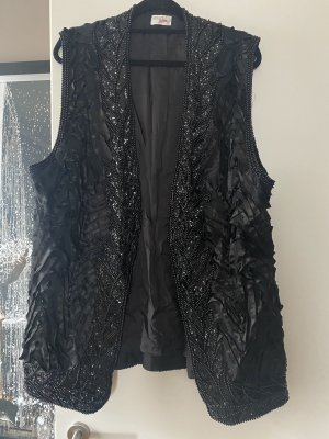 xxx Long Knitted Vest black silk
