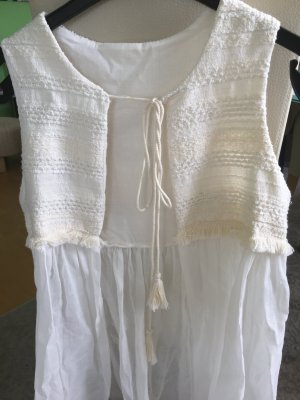 Fringed Vest white-cream linen