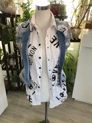 Gilet en jean blanc-bleu fluo
