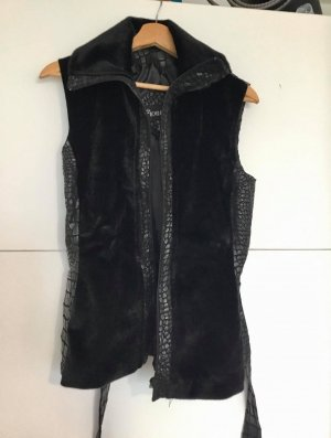 Fake Fur Vest black synthetic material