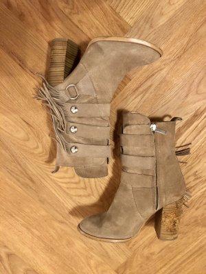 Zara Woman Western Booties beige-oatmeal suede