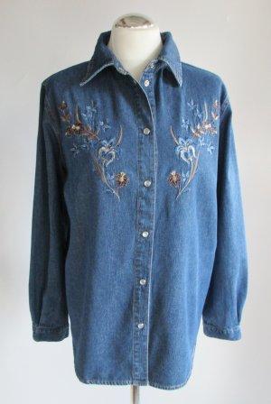 Western Jeans Hemd Bluse Größe 40 42 Blau Denim Stickerei Blumen Vintage Rodeo Folklore Landhaus Perlmutt Druckknöpfe Jeanshemd