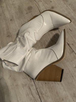 Western Stiefelette/Boots - White/Weiß - Spitz - Zip - Größe 37