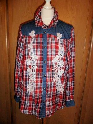 Amy Vermont Tradycyjna bluzka głęboka czerwień-biały