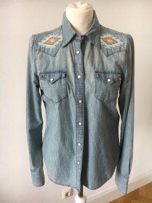 Denim & Supply Ralph Lauren Spijkershirt lichtgrijs-lichtblauw