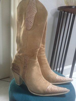 Boots western beige cuir