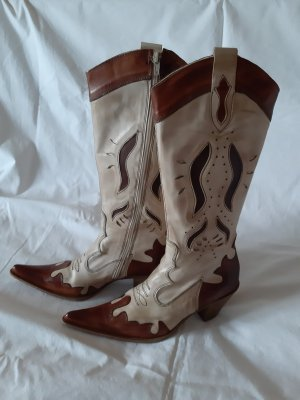 Vera Gomma Western Boots cognac-coloured-cream