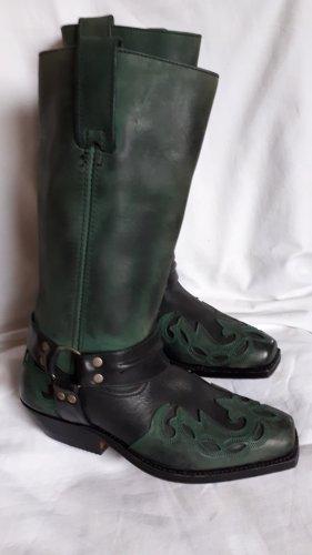Boots western vert forêt-noir cuir