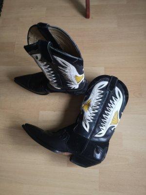 Western Booties white-black