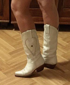 Sancho Buty w stylu western w kolorze białej wełny Skóra
