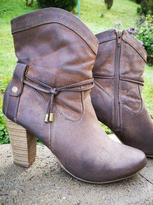 Anna Field Botines estilo vaquero marrón grisáceo