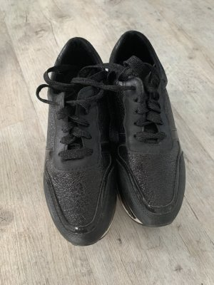 WetLook Sneaker/Turnschuhe - Plateau - Black/White - Größe 36 - Zum Schnüren