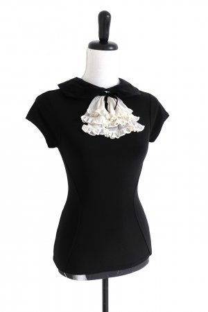 Wheels & Dollbaby Top de volantes negro-blanco puro