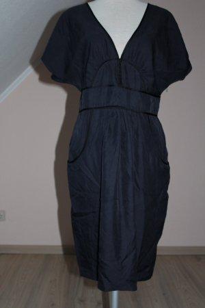 Whistles Kleid 100 % Seide dunkelblau schwarz neu Etuikleid Kurzarm UK 14 EU 42 D 40 M L