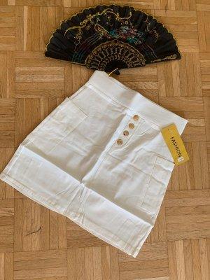 Koucla Falda de talle alto blanco-color oro