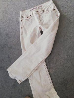 Jeans bootcut blanc coton