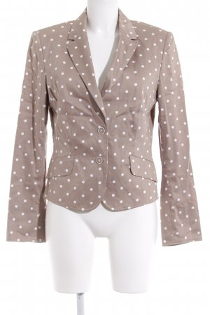 White Label Kurz-Blazer beige-weiß Punktemuster Business-Look