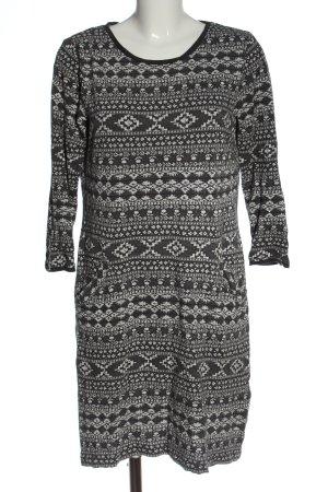 White Stuff Pulloverkleid schwarz-weiß grafisches Muster Casual-Look