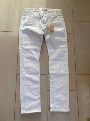Maison Scotch Jeansy z prostymi nogawkami biały-w kolorze białej wełny