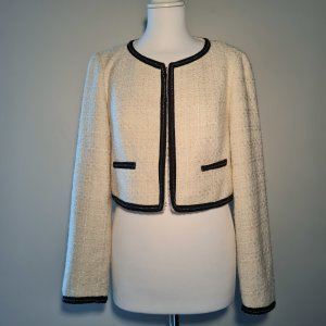 White Tweed Blazer Jacket cropped