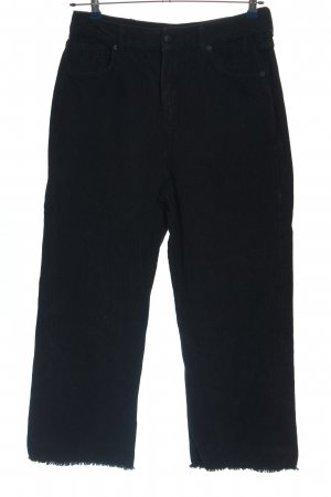 WHY7 Pantalone di velluto a coste nero stile casual