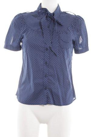 WHYRED Kurzarm-Bluse blau-weiß Punktemuster Business-Look