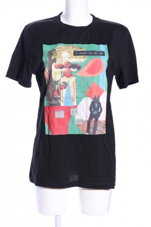 WHYRED Oversized Shirt black themed print casual look