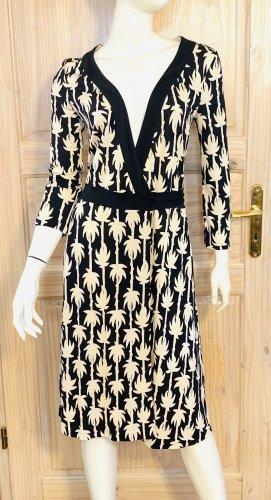 Diane von Fürstenberg Robe portefeuille noir-blanc soie