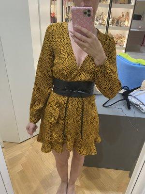 Robe portefeuille noir-jaune
