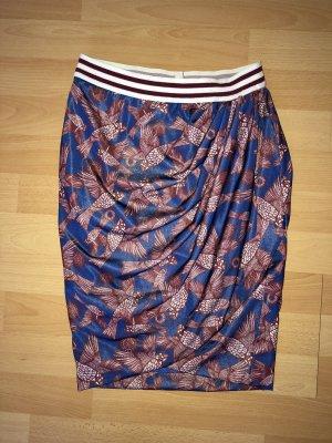Zara Basic Kopertowa spódnica czarny-niebieski