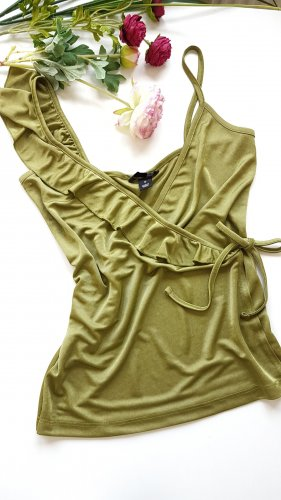H&M Flounce Top lime yellow-olive green
