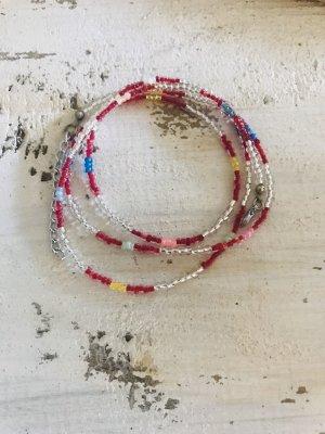 Bracelet argenté-rouge framboise
