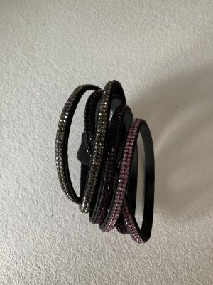 Wickelarmband  Kunstleder Strass neuwertig schwarz mit rosa lila Steinen