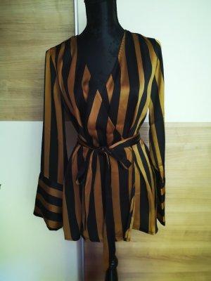 Bik Bok Wraparound Blouse black-gold-colored