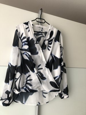 H&M Wraparound Blouse white-blue