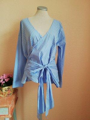 Wickelbluse Bluse langarm Langarmbluse blau weiß Gr. S 36 neu Esprit