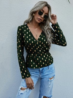 SheIn Kopertowa bluzka leśna zieleń-złoto
