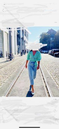 Essentiel Antwerp Blusa cruzada azul bebé-turquesa