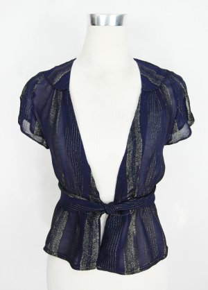 Wickelbluse Gr. 36 gestreife Bluse Lurexbluse Vintage