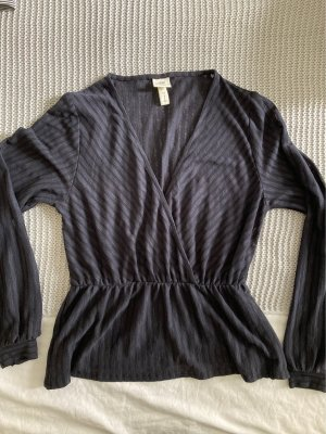 H&M Wraparound Shirt dark blue-black