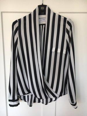 Wikkelblouse wit-zwart Polyester